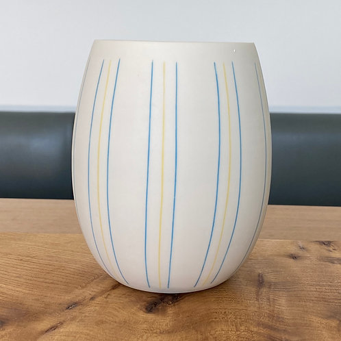 Inlaid egg-shaped porcelain vase