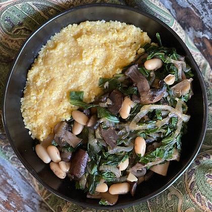 polenta, shrooms, beans & greens