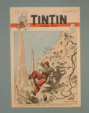 Tintin 1947 n°44  couverture de JACOBS TTBE  tres rare dans cet état