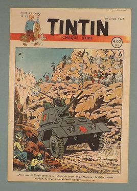 Tintin 1947 n°15  couverture de JACOBS TTBE tres rare dans cet état