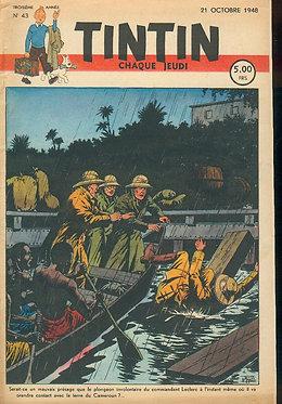 TINTIN 1948 n° 43 couverture de Le Rallic TBE