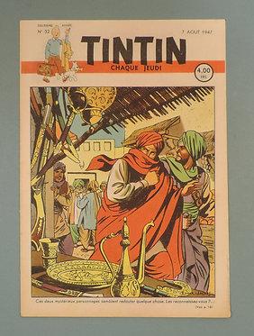 Tintin 1947 n°32   couverture de JACOBS TTBE  tres rare dans cet état