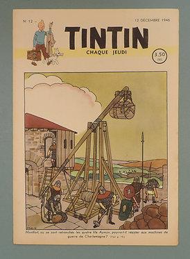 Tintin 1946 n°12 couverture de Laudy TTBE très rare dans cet état