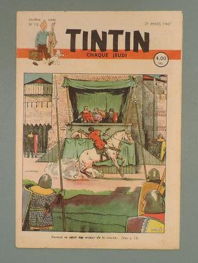 TINTIN 1947 n° 13 couv de Laudy ,temple du soleil