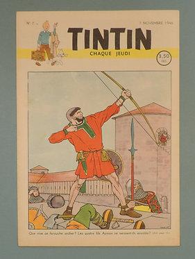 Tintin 1946 n°7 couverture de Laudy TTBE très rare dans cet état