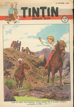 TINTIN 1948 n° 8 couv de Cuvelier , temple du soleil