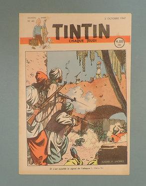 Tintin 1947 n°40  couverture de JACOBS TTBE  tres rare dans cet état
