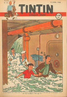 TINTIN 1948 n° 15 couv de Herge , temple du soleil TBE