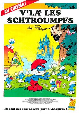 """2398  Affiche du film """"V'là les Schtroumpfs""""  Peyo 1984"""