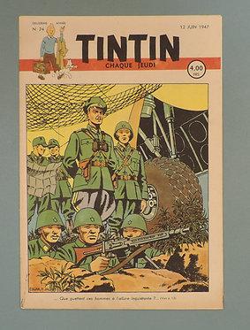 Tintin 1947 n°24  couverture de JACOBS TTBE  tres rare dans cet état