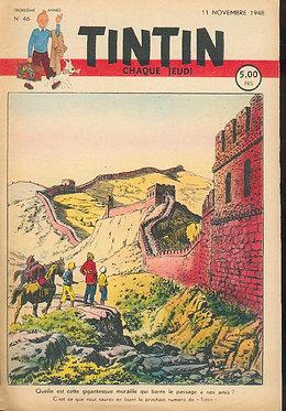 TINTIN 1948 n° 46 couv de Cuvelier , pays de l'or noir TBE