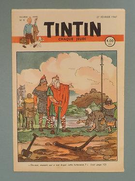 Tintin 1947 n°9  couverture de Laudy TTBE très rare dans cet état