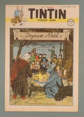 Tintin 1946 n°14 couverture de HERGE JACOBS CUVELIER et LAUDY TBE
