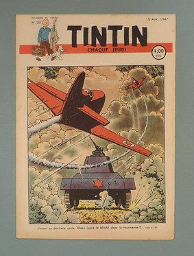 TINTIN 1947 n° 20 couv de Jacobs ,temple du soleil