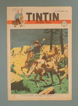 TINTIN 1947 n° 37 couv de Le Rallic, temple du soleil