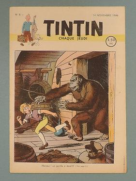 Tintin 1946 n°8 couverture de Cuvelier TTBE très rare dans cet état