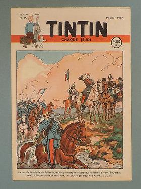 Tintin 1947 n°25  couverture de Laudy TBE  tres rare dans cet état