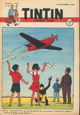 TINTIN 1948 n° 47 couv de HERGE , pays de l'or noir TBE