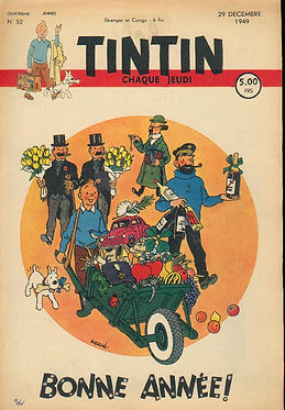 TINTIN 1949 n° 52  couv de HERGE ,bonne année