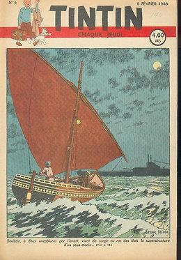 TINTIN 1948 n° 6 couv de Jacobs, temple du soleil