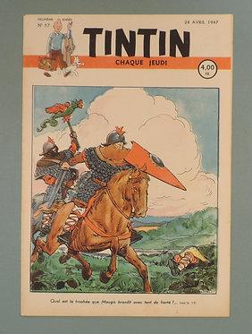 Tintin 1947 n°17  couverture de Laudy TTBE  tres rare dans cet état