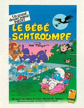 """2434   Affiche du film """"le bébé Schtroumpf""""  Peyo 1984"""