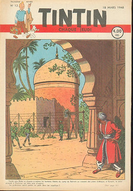 TINTIN 1948 n° 12 couv de Jacobs , temple du soleil