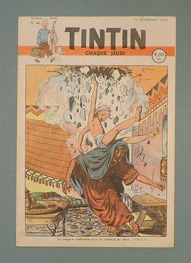TINTIN 1947 n° 46 couv de Cuvelier ,temple du soleil