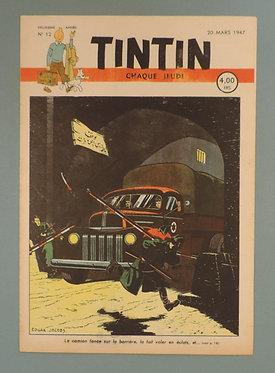 TINTIN 1947 n° 12 couv de Jacobs temple du soleil