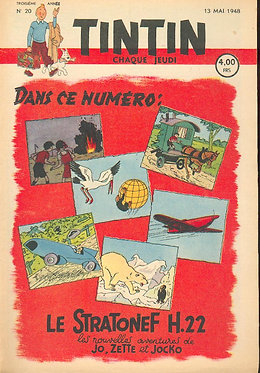 TINTIN 1948 n° 20 couverture HERGE TBE