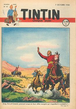 TINTIN 1948 n° 41 couv de Cuvelier , pays de l'or noir TBE
