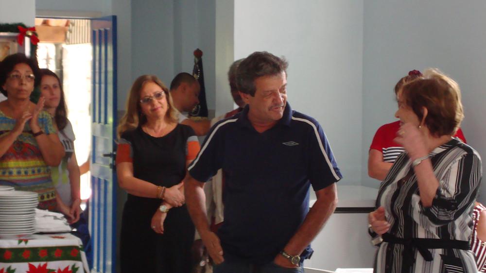 Maurício Dionísio, reintegrado do projeto, dando seu depoimento ao lado de Marilia Gouvêa dos Reis (Vice- Presidente da Casa de Acolhida) e Maria Ignez Francischetti Suzano( Coordenadora de Pastoral)