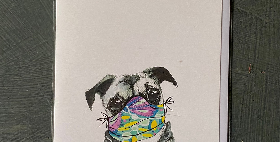 Pug in Mask Card