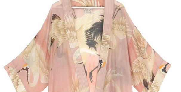 One Hundred Stars Short Kimono - Stork