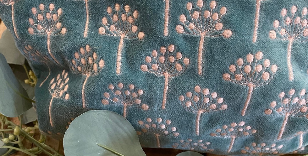 Turquoise & Pink Ammi Embroidered Velvet Pouch