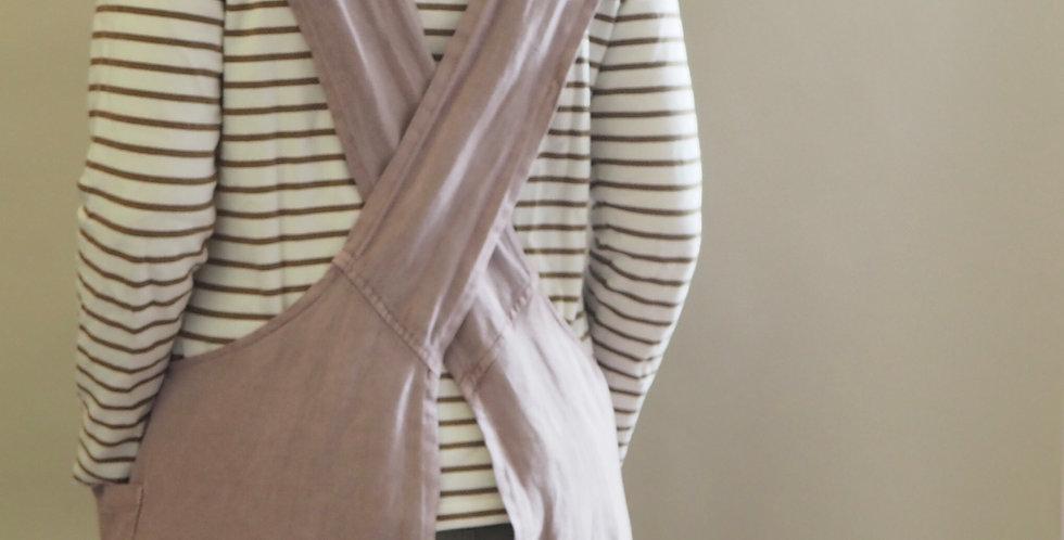 Cross Back Apron - Blush Linen