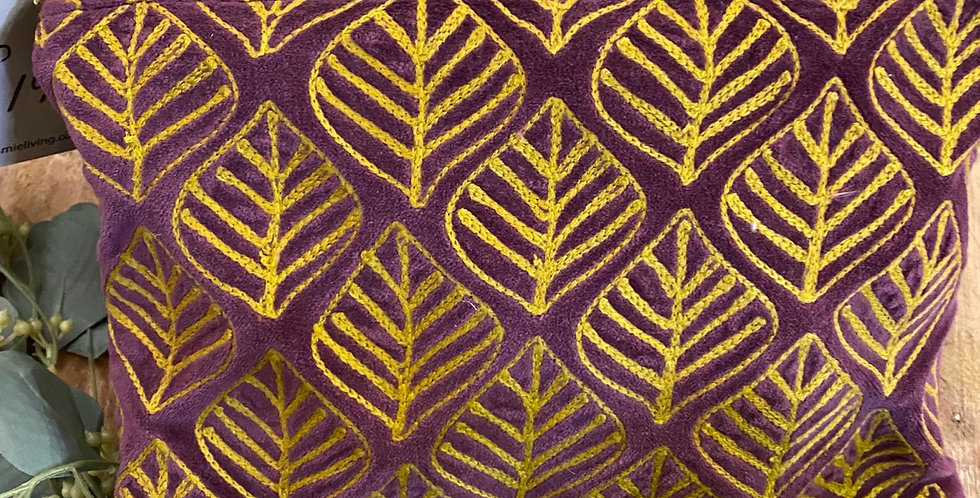 Claret & Gold Leaf Embroidered Velvet Pouch