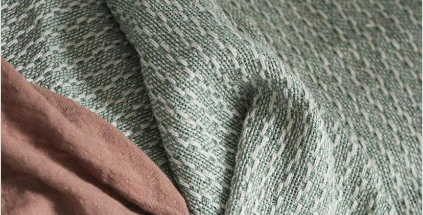 Cotton Throw - Green/Cream