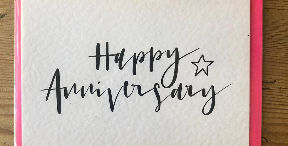 Happy Anniversary Calligraphy Card
