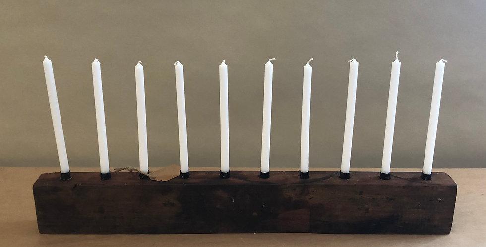 Scandinavian Wooden Candle Holder - Long