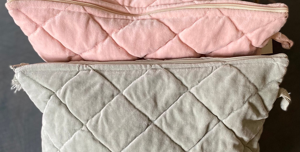 Velvet Quilted Pouch