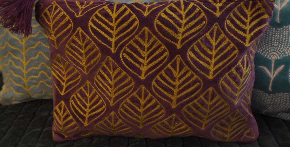 Claret & Gold Leaf Embroidered Velvet Pouch