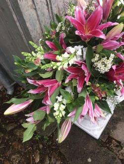 Pink Lily Coffin Spray