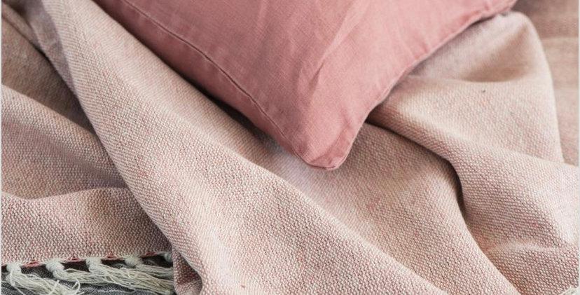 Cotton Throw - Pink/Cream