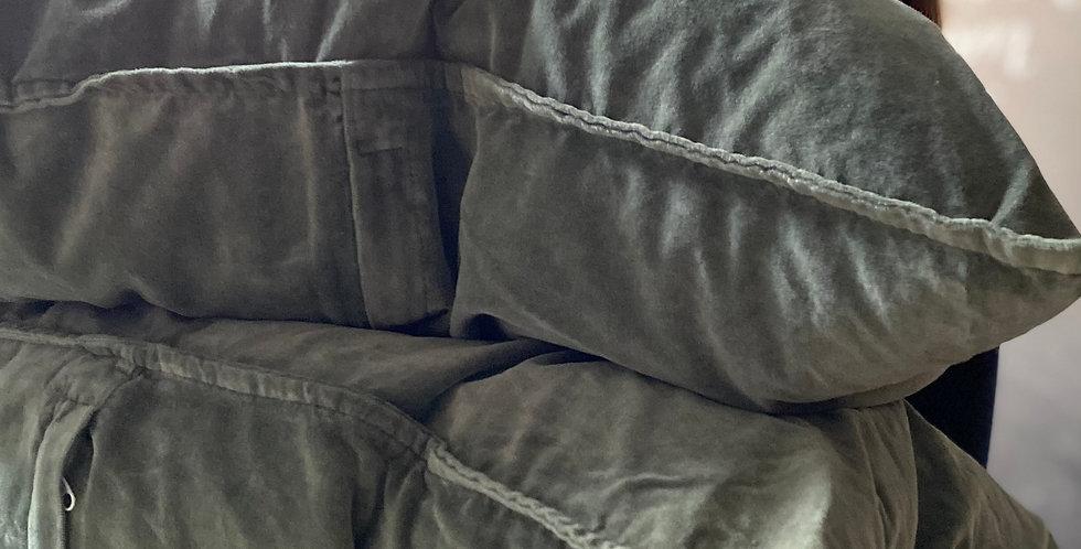 Velvet Cushion - Chalk Green