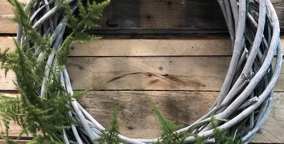 Green Fern Washed Wicker Wreath