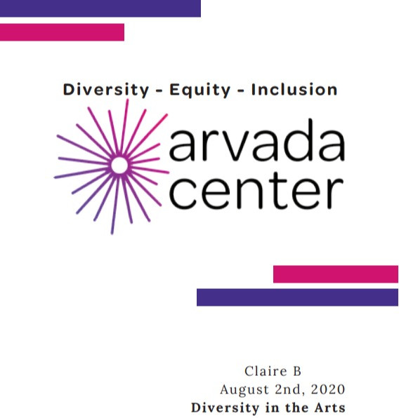 Screenshot of the cover page of the intern's proposal. Text on the image reads: Diversity, Equity, Inclusion. Claire B. August 2nd, 2020 - Diversity in the Arts. The Arvada Center's logo is on the center of the page as they hosted intern Claire.