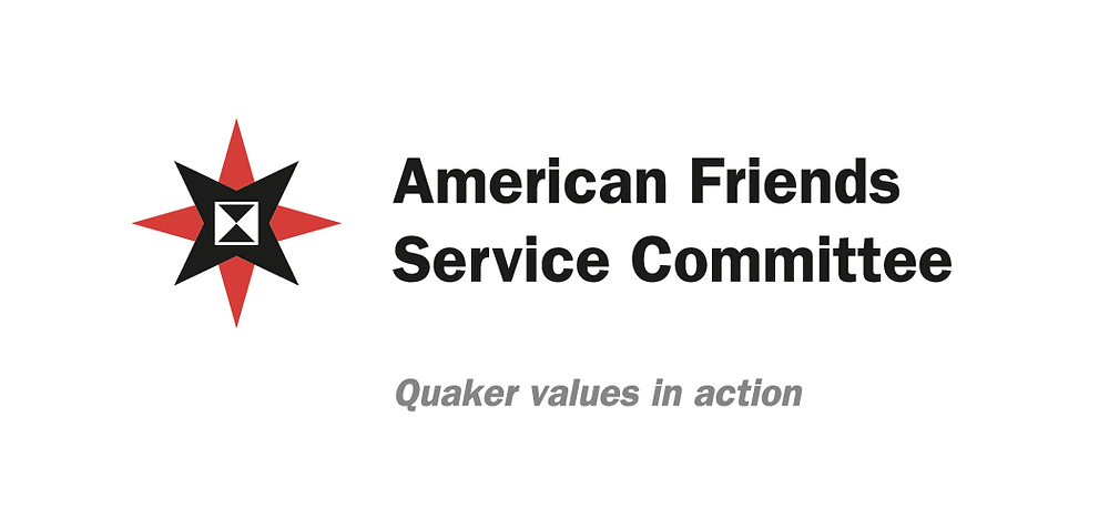 Logo: American Friends Service Committee. Subtitle: Quaker values in action. (A four-pointed red star sits underneath a four-pointed black star with a black hourglass in the middle.)