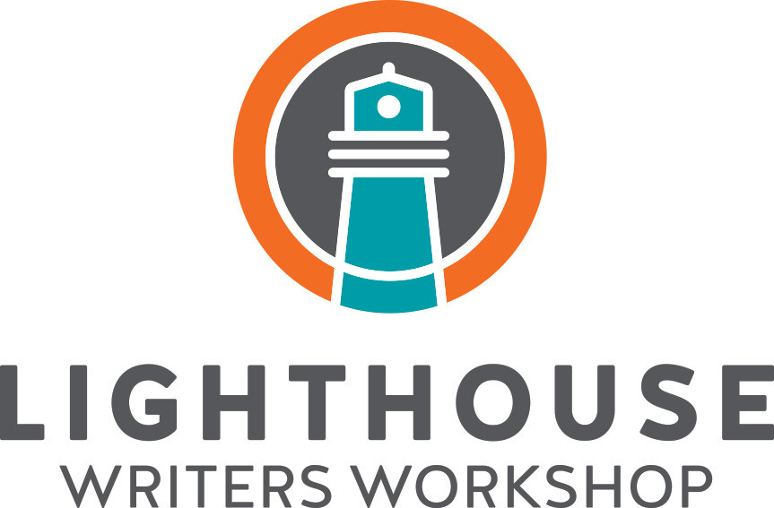 Logo: Lighthouse Writers Workshop. (A lighthouse is depicted on top of the text)