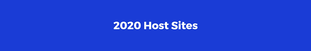 Blue background with text reading '2020 Host Sites'